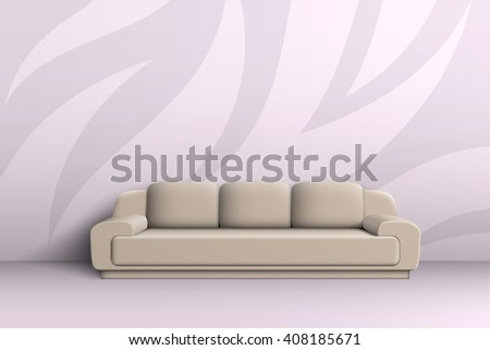 Three seater sofa with cushions in a room with patterned walls. - stock vector