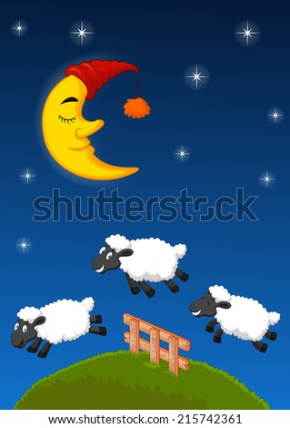 Three sheep jumping over the fence - stock vector