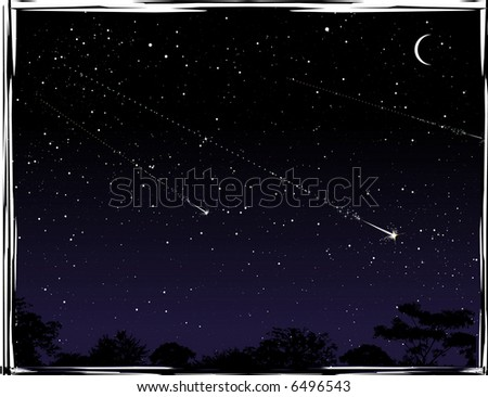 Three shooting stars at night. - stock vector