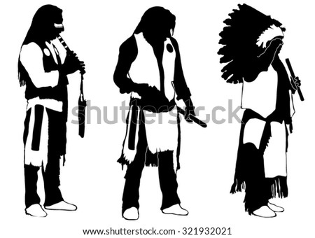 Three silhouettes of Indians - stock vector