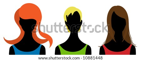 Three  silhouettes of woman. Vector illustration - stock vector
