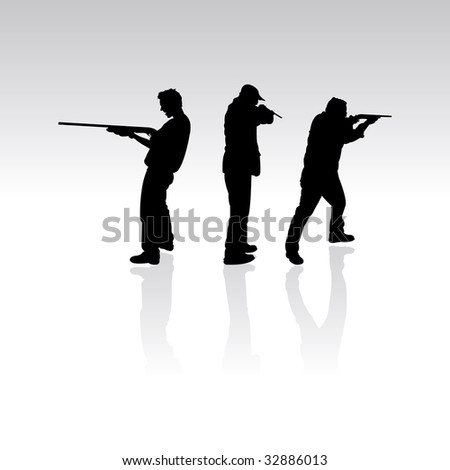 three silhouettes with guns, vector illustration - stock vector
