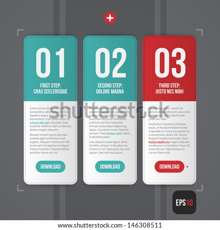 Three simple web banners with numbers from 01 to 03. EPS10. - stock vector