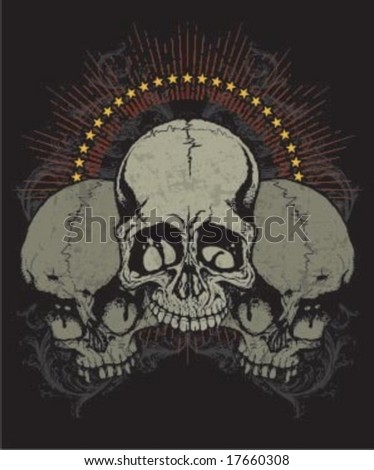 three skully - stock vector