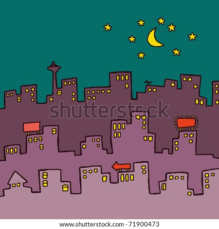 Three Skylines. Overlapping city skylines. Can be used as poster, layout backgrounds etc. - stock vector