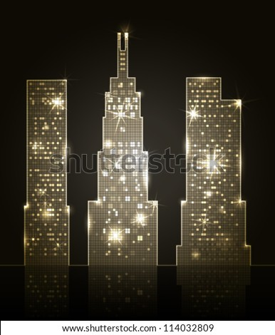 Three skyscrapers shining in dark - stock vector