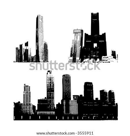 Three skyscrapers silhouette against white (vector, illustration) - stock vector