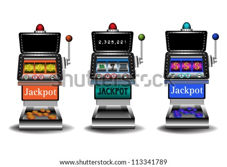 Three slot machines isolated on a white background. Gambling theme - stock vector