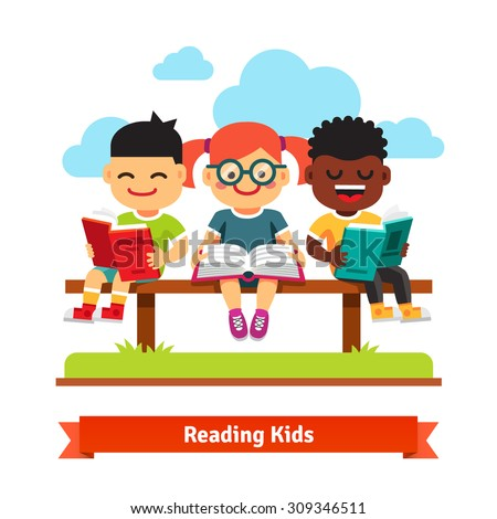 Three smiling kids sitting on the bench and reading books. Flat style cartoon vector illustration isolated on white background. - stock vector