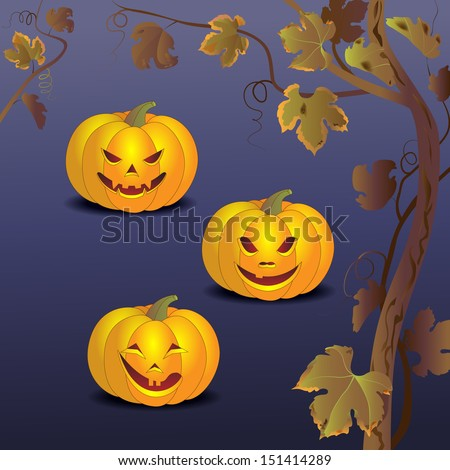 Three smiling pumpkin and a branch of grapes on the night of Halloween