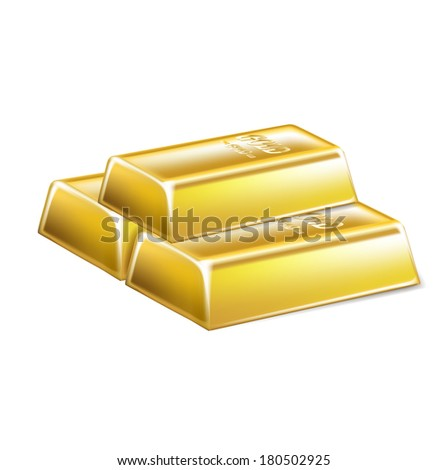 three stacked golden bars isolated on white background