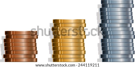 Three stacks of coins. EPS version 10 with transparencies. - stock vector