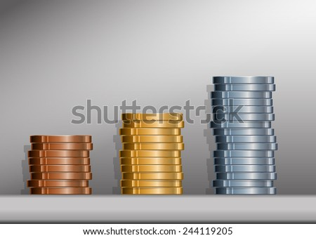 Three stacks of coins with background. EPS version 10 with transparencies.
