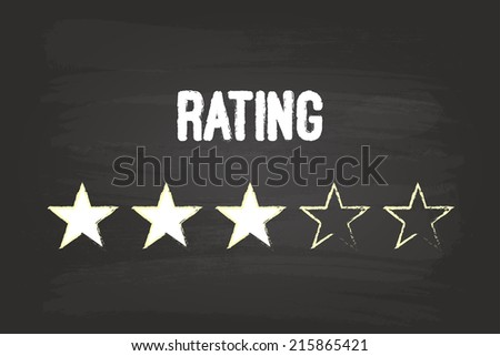 Three Star Rating On Blackboard With White Chalk - stock vector