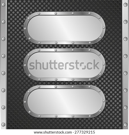 three steel banners on black textured background - stock vector
