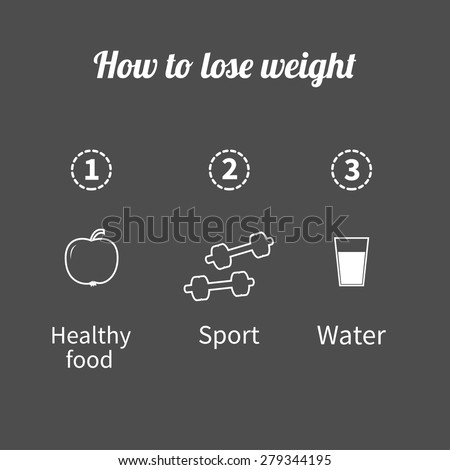 Three step weight loss infographic. Healthy food, sport fitness, drink water icon. Outline effect. Flat design  Vector illustration