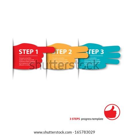 three steps fingers progress vector - stock vector