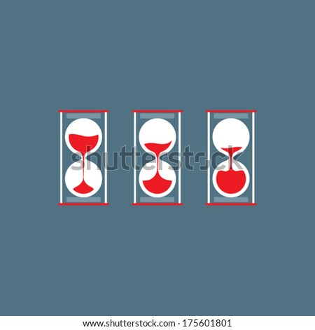 Three Steps Of Hourglass Flat Design - stock vector
