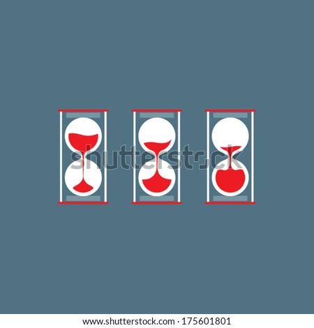 Three Steps Of Hourglass Flat Design - stock vector