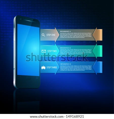 Three steps on dark background. EPS10 vector. - stock vector