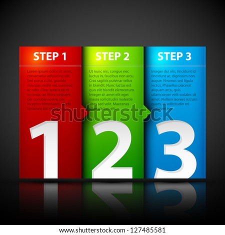 Three steps. Useful for tutorials or instructions. - stock vector