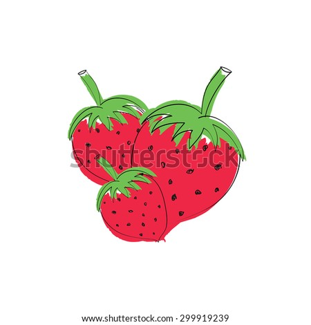 Three Strawberries / Isolated on white background / Vector illustration - stock vector