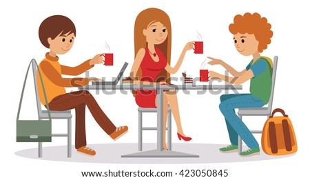 Three students talking friendly at coffee shop while drinking beverages and using laptop, vector illustration isolated on white background.  - stock vector