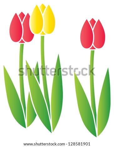Three stylized blooming tulips done in a stencil-like style. - stock vector