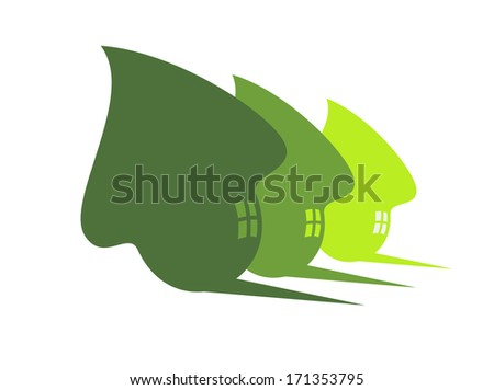 Three stylized cute green eco houses logo with flowing curves, windows and shadows in receding sizes, silhouette illustration on white. Jpeg version also available in gallery - stock vector