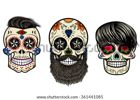 Three Sugar skulls with hair and beards. The day of the Dead. The template for printing on T-shirts. Vector illustration. - stock vector