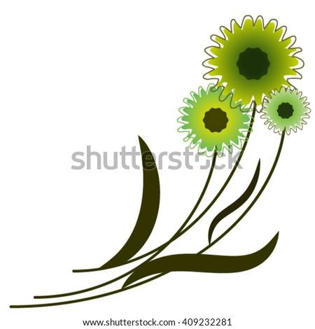 Three sunflowers. - stock vector
