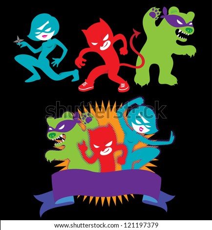 Three Superheroes Friends. Devil-boy, Ninja-Girl ans Scare-bear are ready  to fight! - stock vector