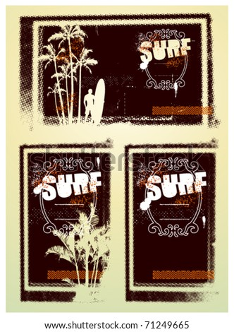 three surf grunge poster with text surfer and palms - stock vector