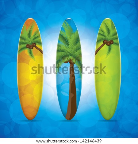 Three surfboard.Vector