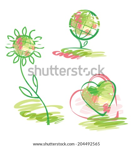 Three symbolic image. Planet, plant, heart. - stock vector