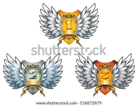 Three symbols of award - gold, silver and bronze shields with wings, vector illustration - stock vector