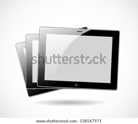 Three tablets isolated on white background vector