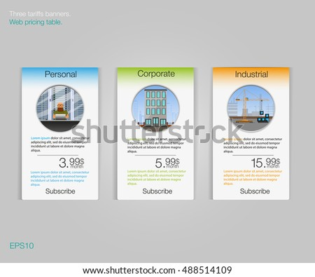 Three tariffs banners. Web pricing table. Vector design for web app. Price list. Business tariff banners.