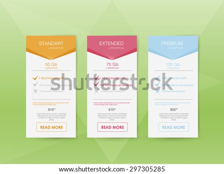 three tariffs. interface for the site. ui ux vector banner for web app. Pastel pricing table, banner, order, box, button, list and bullet with plan for website in flat design / style - stock vector