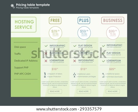 Pricing table template business plan comparison stock vector pricing table template three tariffs interface for the site ui ux vector banner for web app pronofoot35fo Images