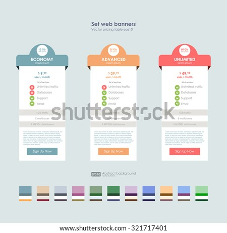 Three tariffs. interface for the site. UI UX vector banner for web app. Set tariffs. interface for the site. Pricing table, banner, order, box, button, list with plan for website. - stock vector