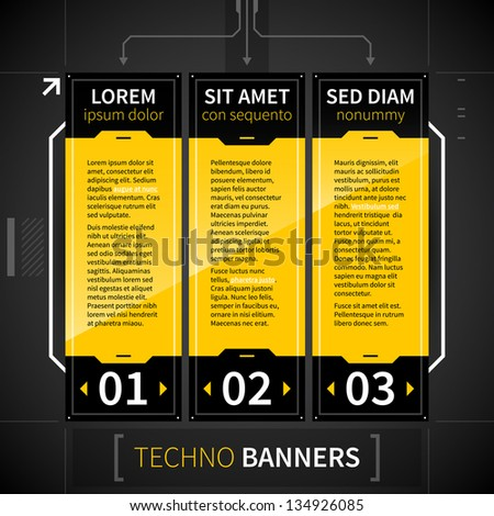 Three techno options. - stock vector