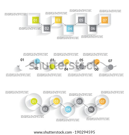 Three templates for your presentation, flat design - stock vector