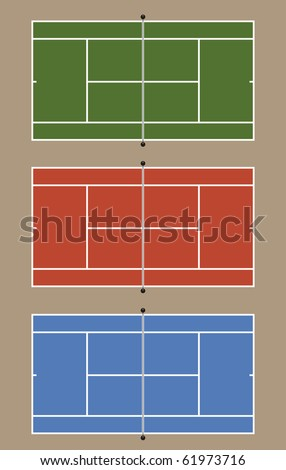 Three tennis courts - View from above. Top court: grass - Middle court: Clay - Bottom court: Asphalt