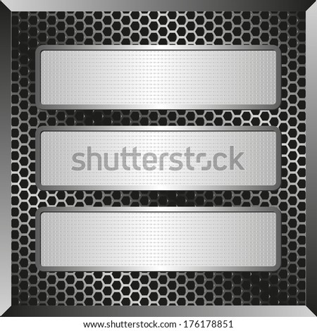 three textured banners on metallic plate - stock vector