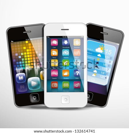 Three touchscreen smartphones with applications on screens. Vector illustration. - stock vector