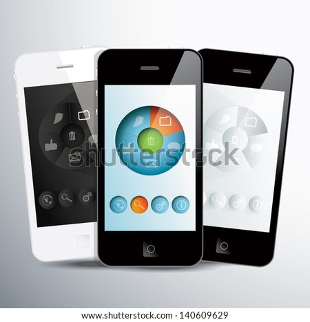 Three touchscreen smartphones with social application on screens. Vector illustration. - stock vector