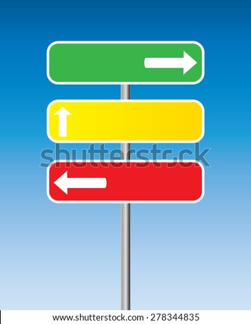 three traffic signs with arrows and blue background - stock vector