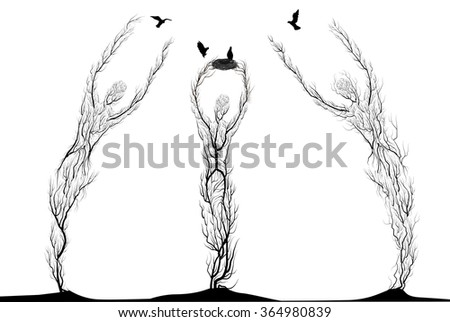 three tree silhouettes look like man stretching arm to flying bird, plant surrealism,  fairy tree silhouettes and one holding the nest for birds on white background, vector. - stock vector