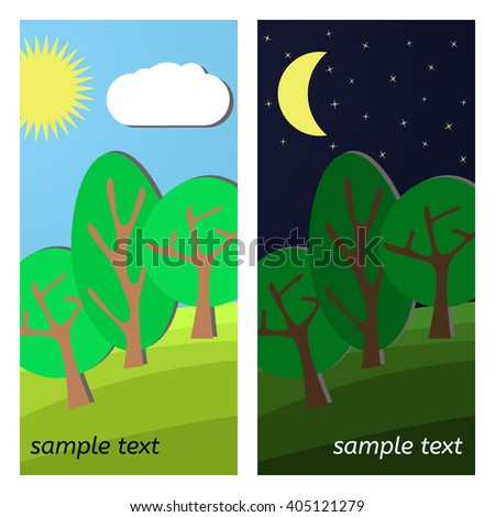 Three Trees. Day and Night on a Clearing. - stock vector